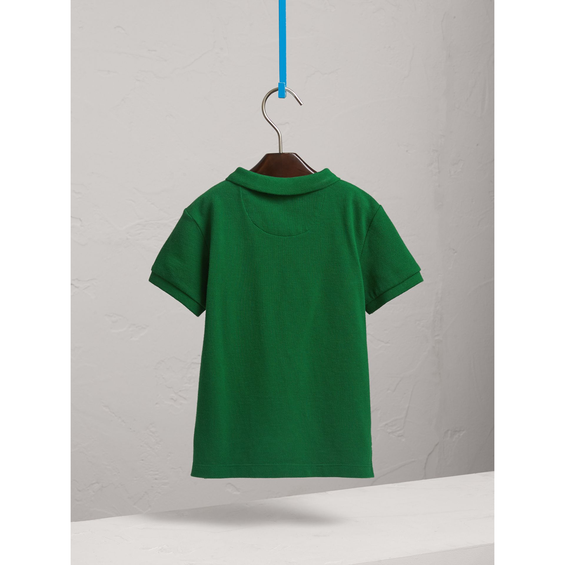 Long-sleeve Cotton Jersey Polo Shirt in Pigment Green - Boy   Burberry United Kingdom - gallery image 4