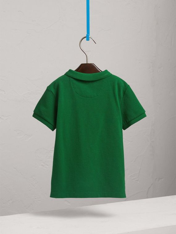 Long-sleeve Cotton Jersey Polo Shirt in Pigment Green - Boy   Burberry United Kingdom - cell image 3