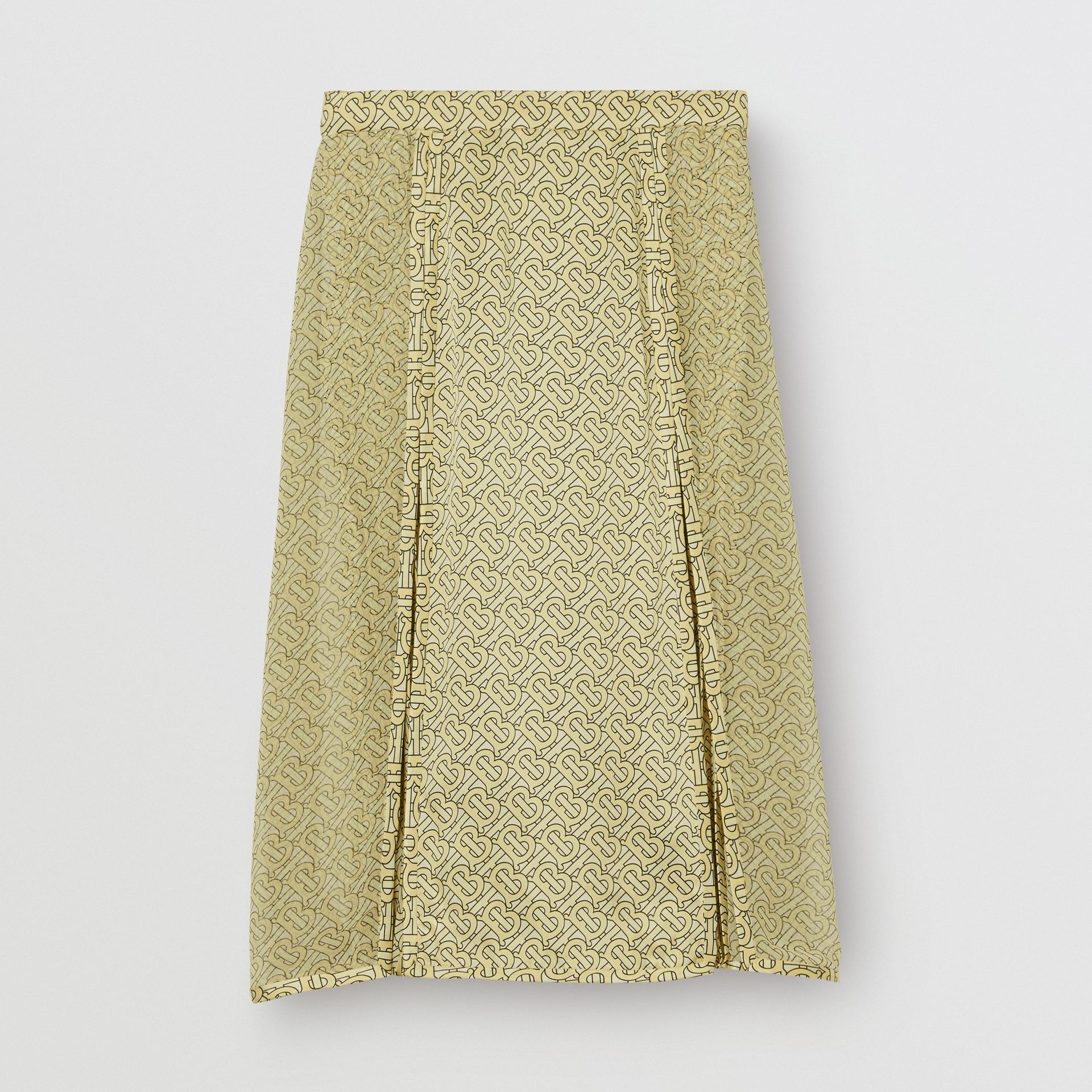 Monogram Print Silk Pleated Skirt in Pale Yellow - Women | Burberry - gallery image 3