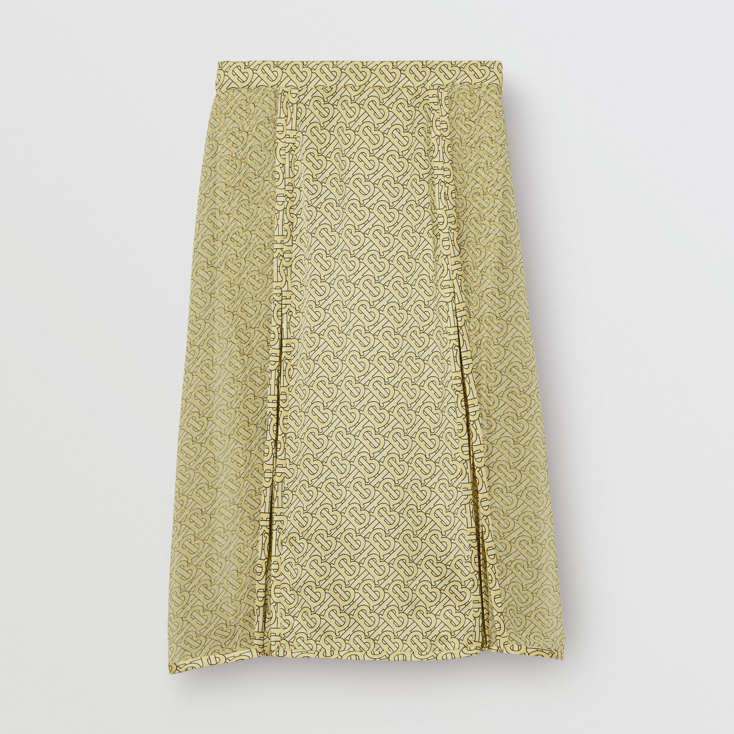 Monogram Print Silk Pleated Skirt in Pale Yellow | Burberry - 4