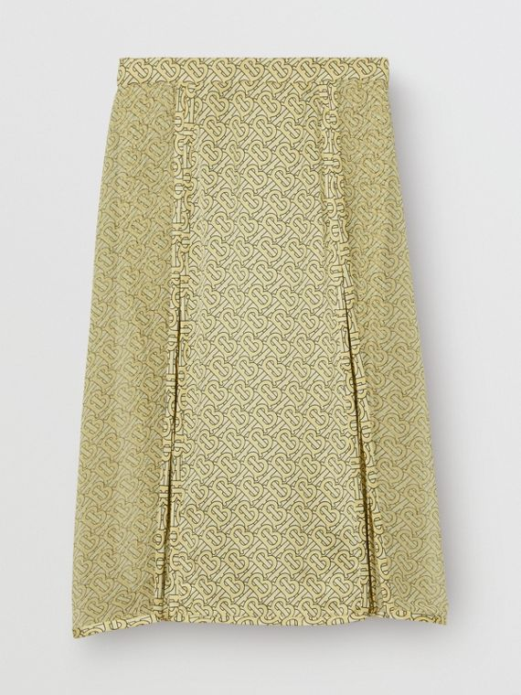 Monogram Print Silk Pleated Skirt in Pale Yellow