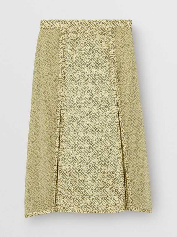 Monogram Print Silk Pleated Skirt in Pale Yellow - Women | Burberry - cell image 3