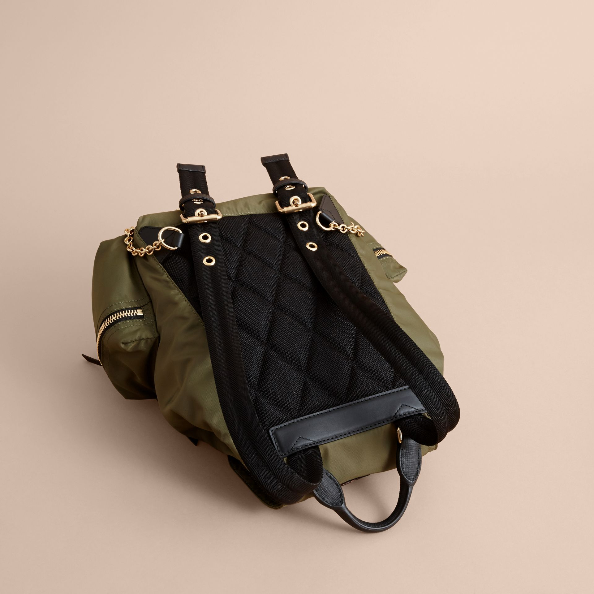 The Medium Rucksack in Technical Nylon with Pallas Heads Appliqué in Canvas Green - Women | Burberry - gallery image 4
