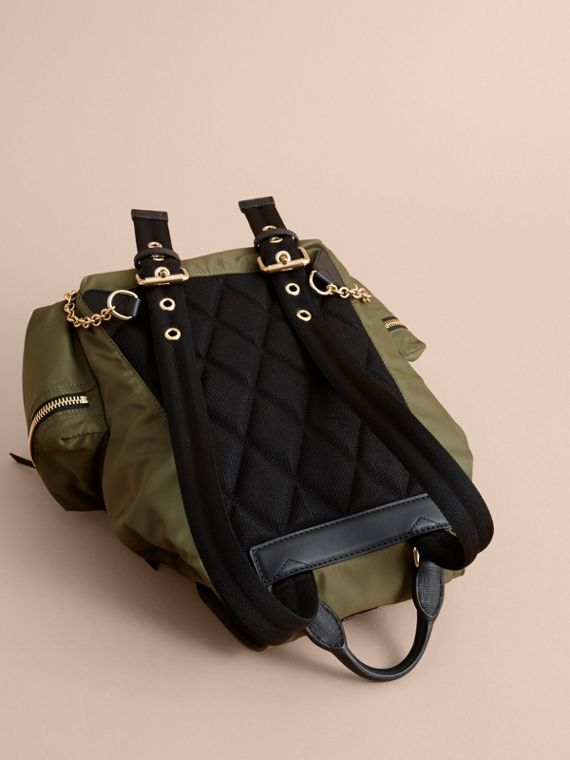 The Medium Rucksack in Technical Nylon with Pallas Heads Appliqué in Canvas Green - Women | Burberry United Kingdom - cell image 3