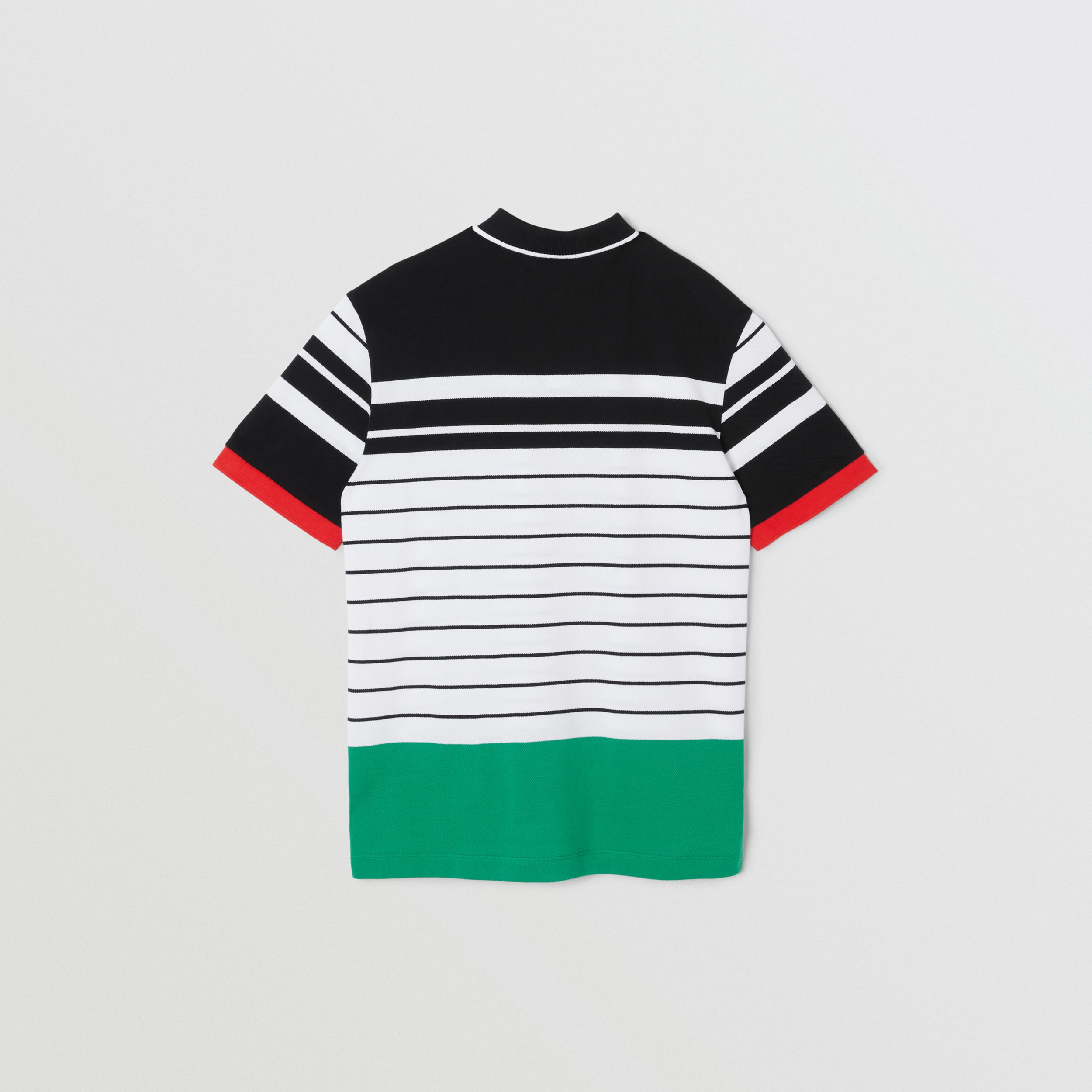 Logo Graphic Striped Cotton Piqué Polo Shirt in Multicolour | Burberry - 4