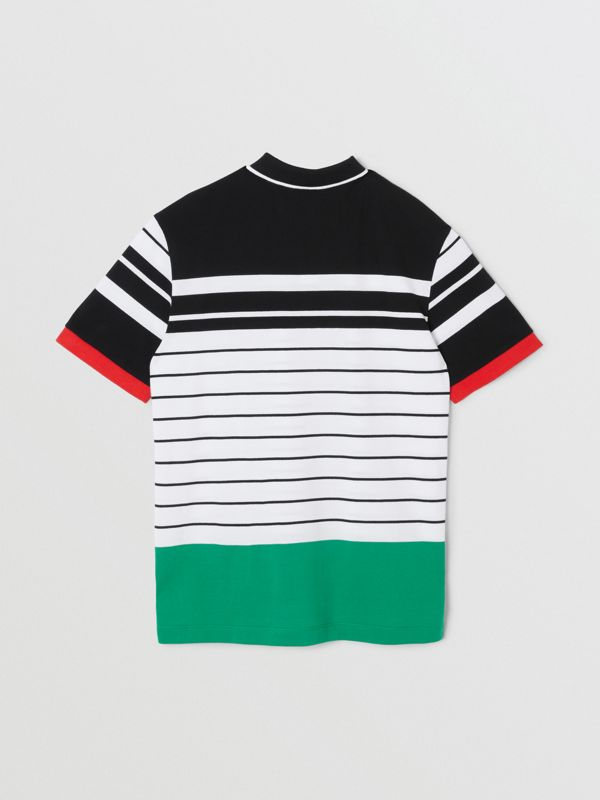 Logo Graphic Striped Cotton Piqué Polo Shirt in Multicolour | Burberry United Kingdom - cell image 3