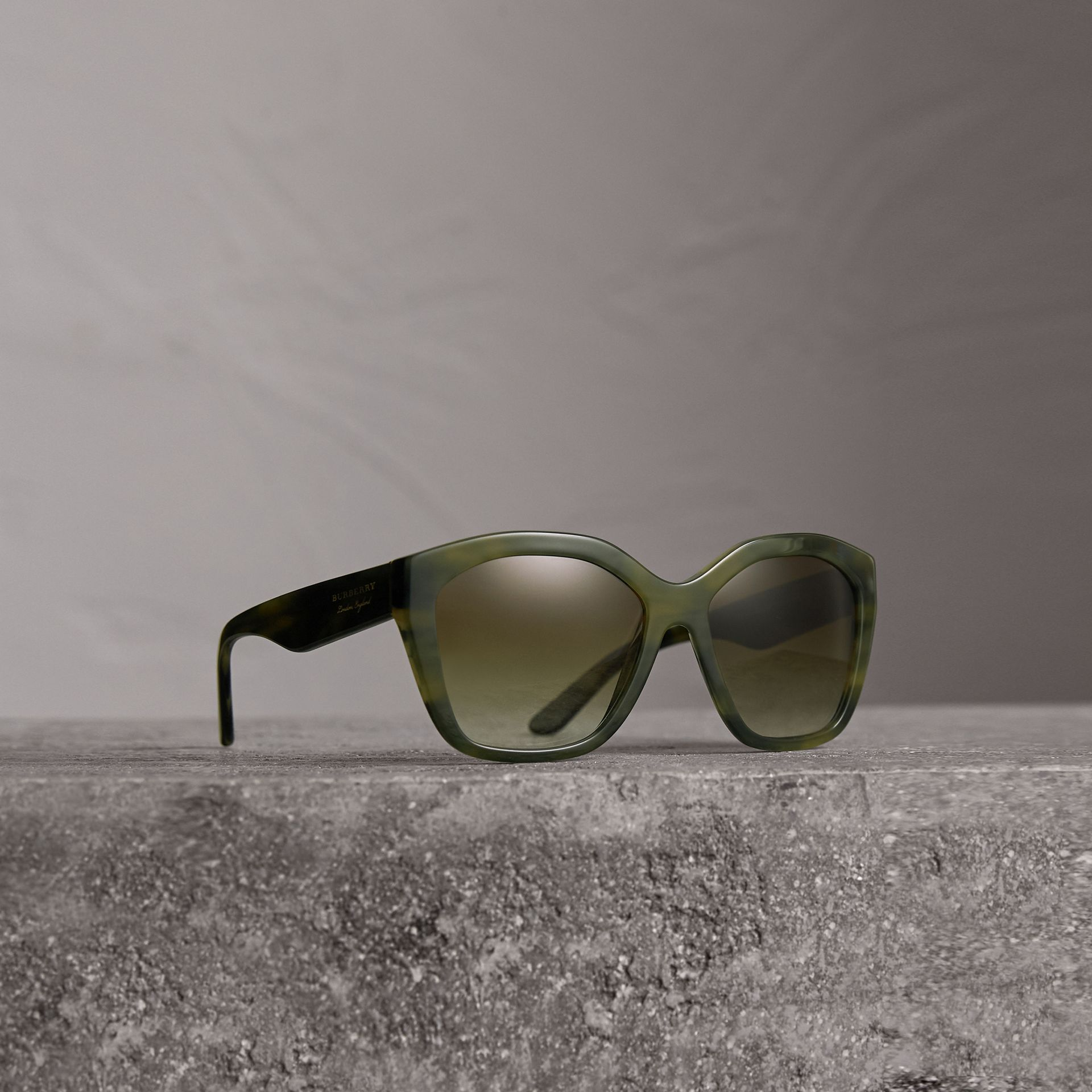 Square Frame Sunglasses in Smokey Green - Women | Burberry - gallery image 0