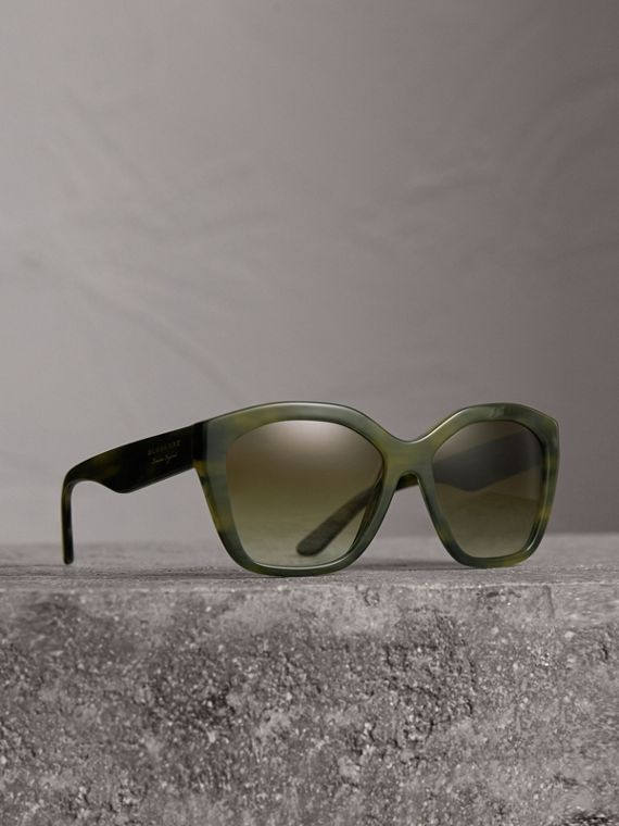 Square Frame Sunglasses in Smokey Green