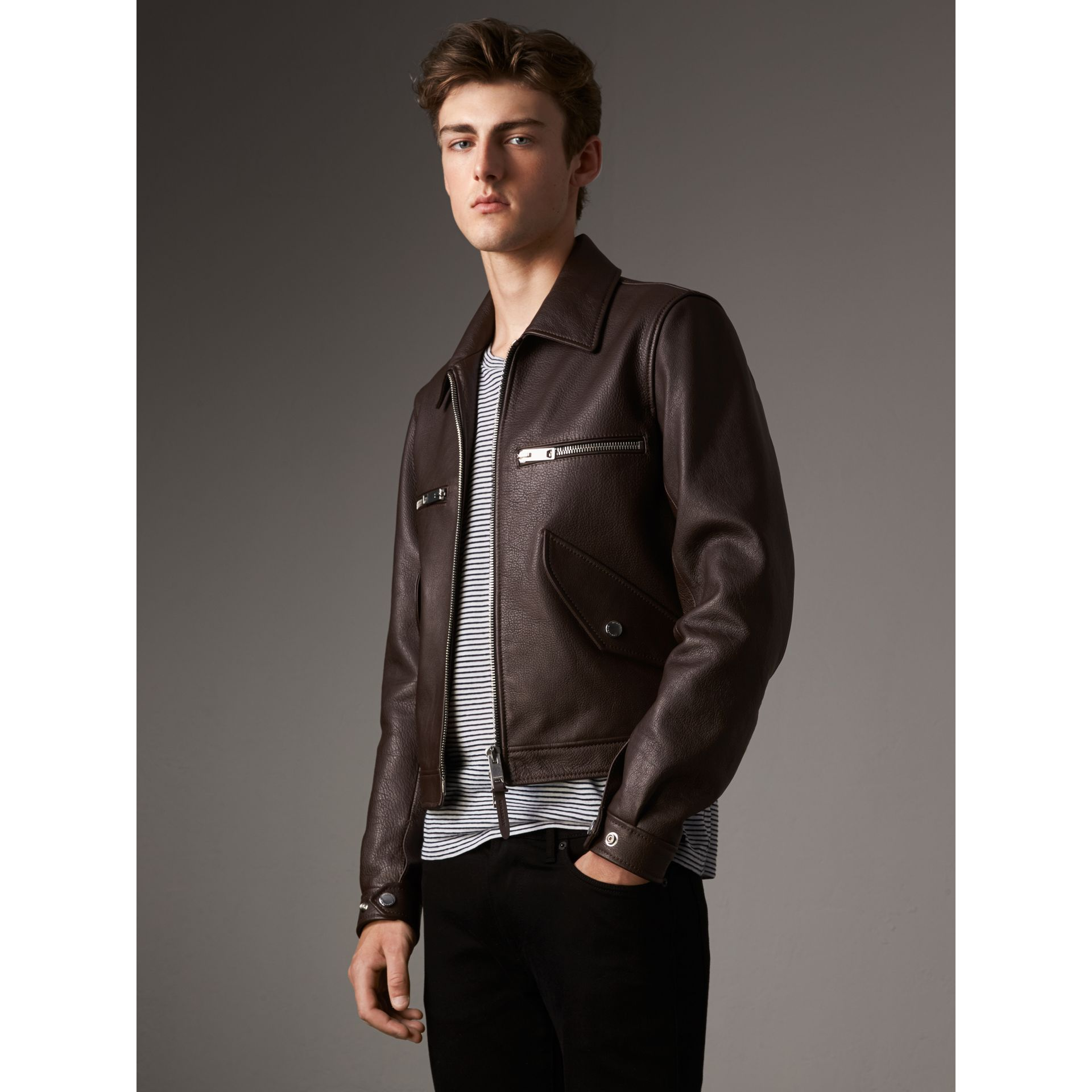 Tumbled Leather Jacket in Bitter Chocolate - Men | Burberry - gallery image 1