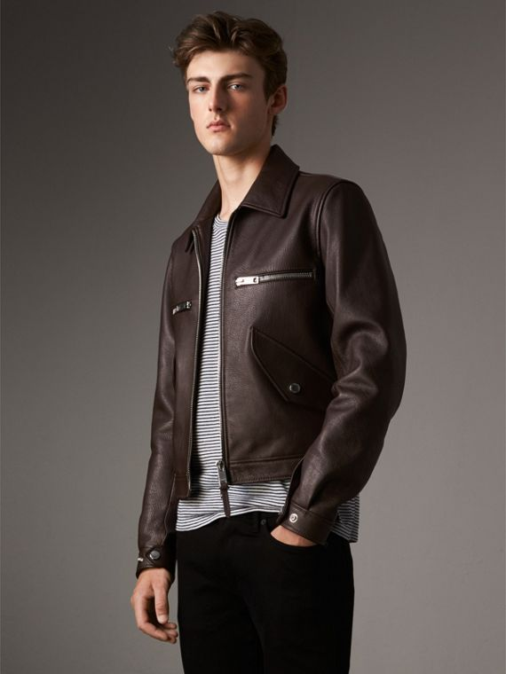 Tumbled Leather Jacket - Men | Burberry Singapore