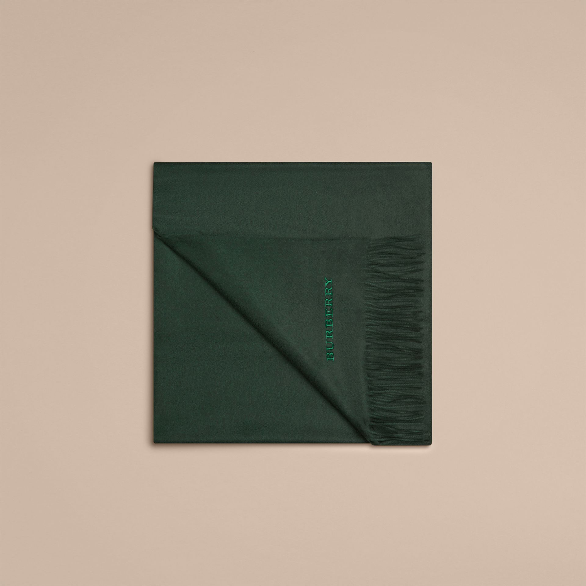 Cashmere Blanket in Dark Forest Green | Burberry United Kingdom - gallery image 4