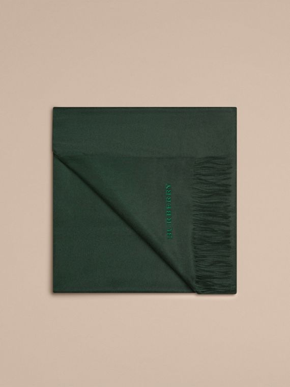 Cashmere Blanket in Dark Forest Green | Burberry United Kingdom - cell image 3