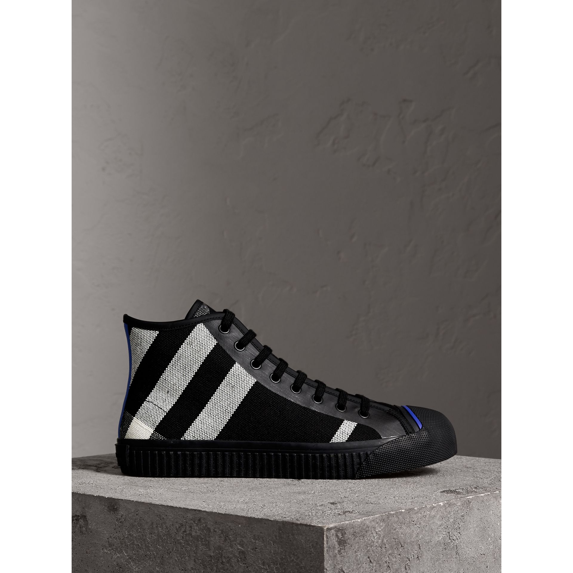 Canvas Check and Leather High-top Sneakers in Black - Men | Burberry - gallery image 4