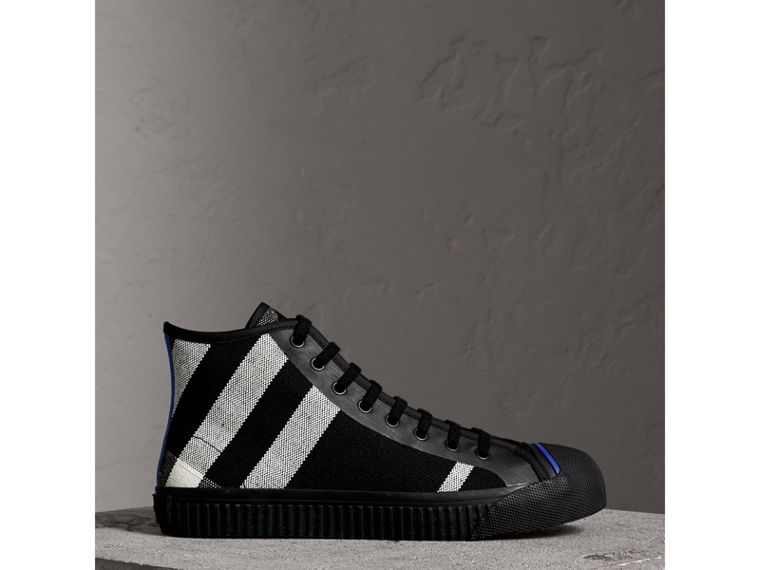 Canvas Check and Leather High-top Sneakers in Black - Men | Burberry Australia - cell image 4