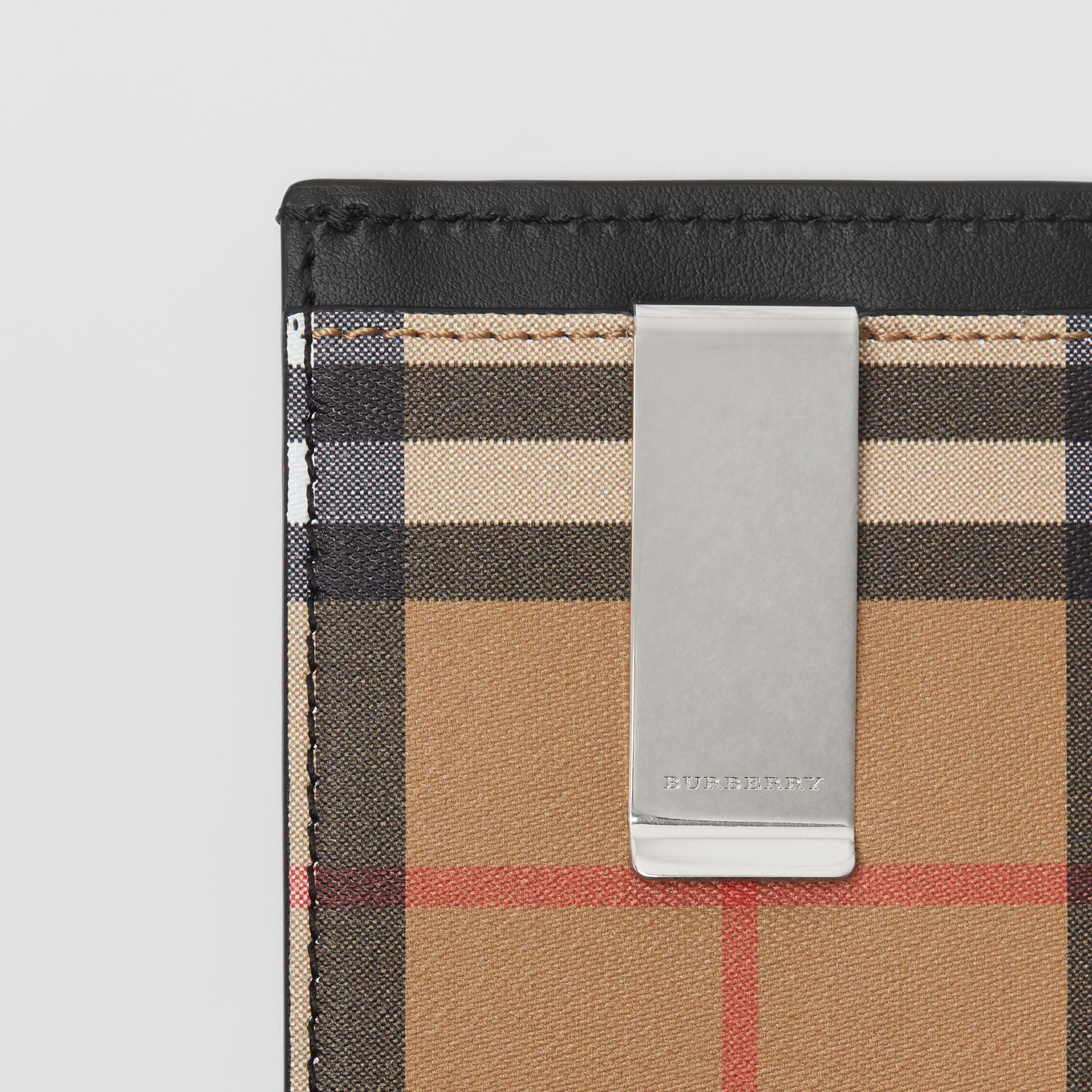 Vintage Check and Leather Money Clip Card Case in Black - Men | Burberry United States - gallery image 1