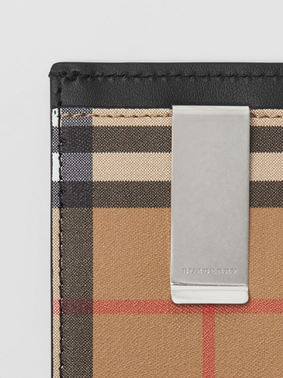 Vintage Check and Leather Money Clip Card Case in Black - Men | Burberry United States - cell image 1