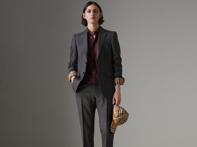 Check Cuff Stretch Cotton Poplin Shirt in Oxblood - Men | Burberry - cell image 4