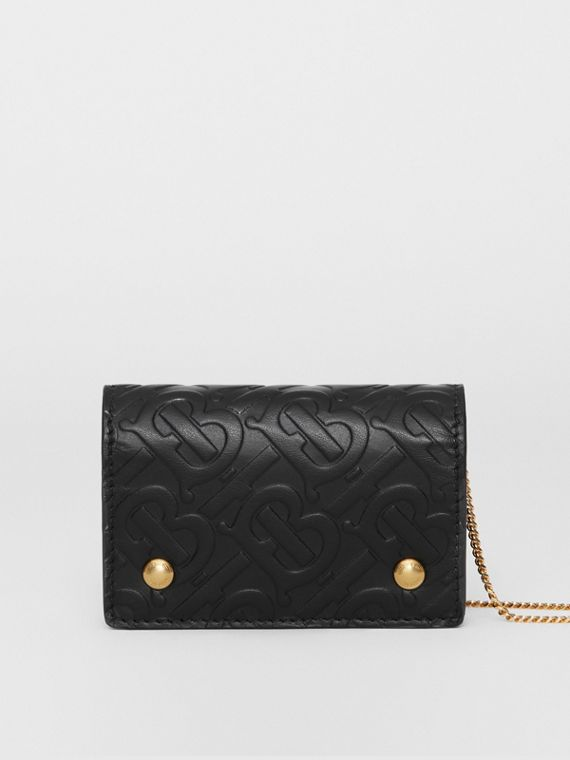 Monogram Leather Card Case with Detachable Strap in Black