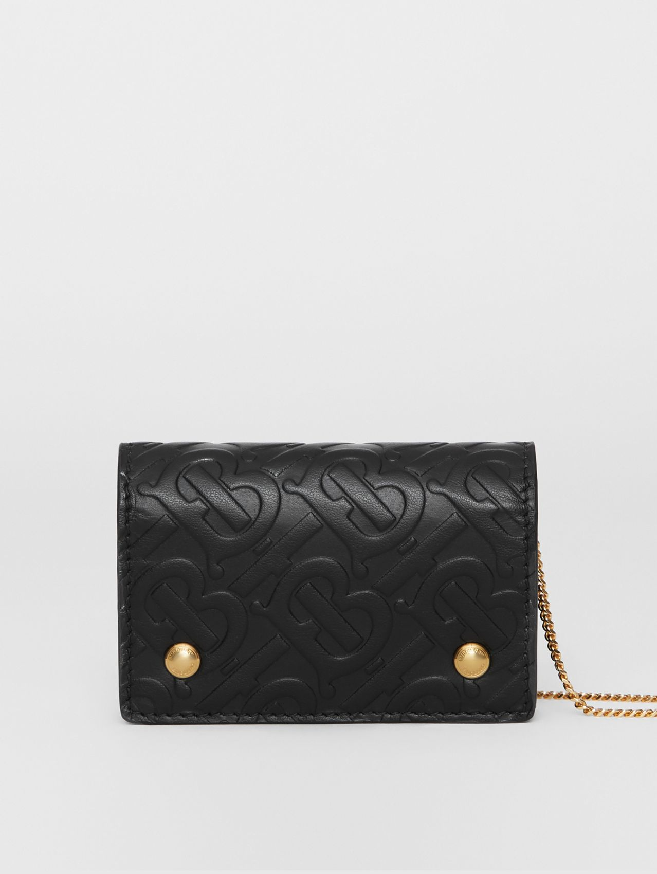 Monogram Leather Card Case with Detachable Strap (Black)