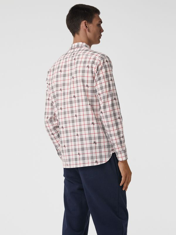 Equestrian Knight Check Cotton Shirt in Natural White - Men | Burberry - cell image 2