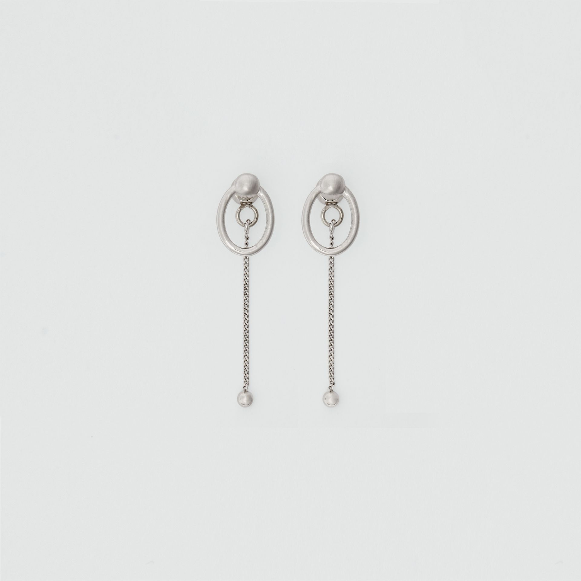 Oval and Charm Palladium-plated Drop Earrings in Palladio - Women | Burberry - gallery image 0