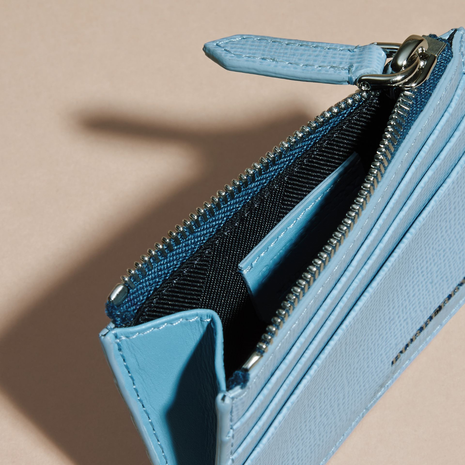 London Leather Zip-top Card Case Powder Blue - gallery image 3