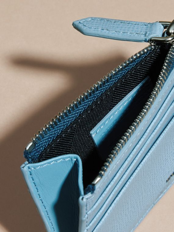 London Leather Zip-top Card Case Powder Blue - cell image 2