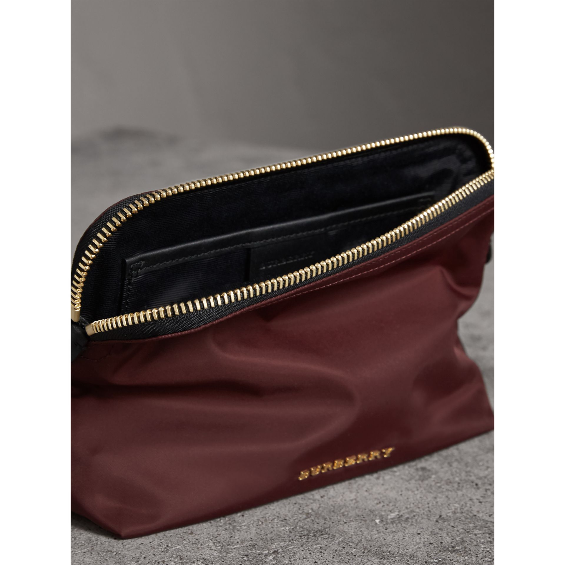 Large Zip-top Technical Nylon Pouch in Burgundy Red - Women | Burberry Canada - gallery image 5