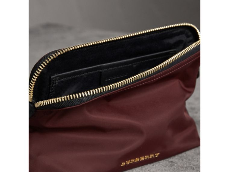 Large Zip-top Technical Nylon Pouch in Burgundy Red - Women | Burberry - cell image 4