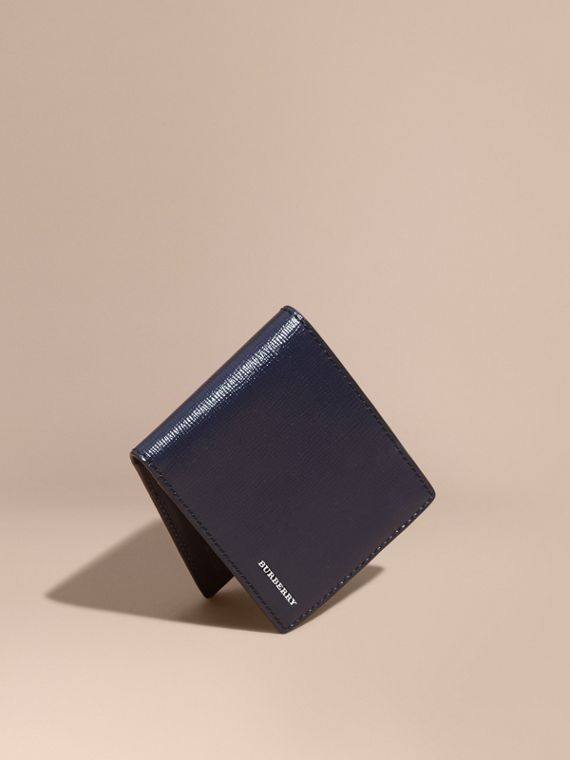 London Leather Bifold Wallet in Dark Navy | Burberry