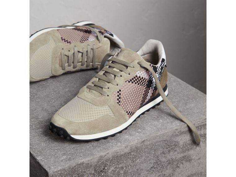 Woven Check Suede Trainers in Storm Grey - Men | Burberry United Kingdom - cell image 4