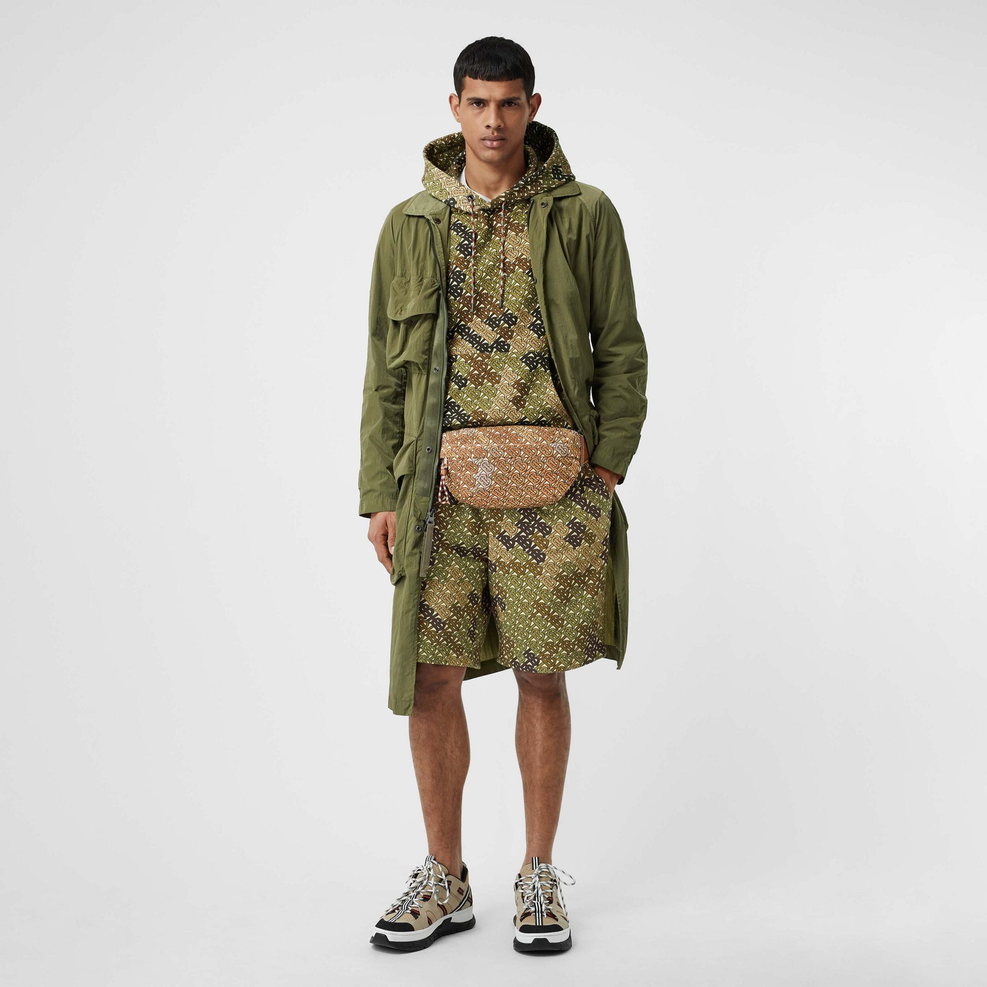Medium Monogram Print Bum Bag in Camo Brown - Men | Burberry United States - gallery image 7