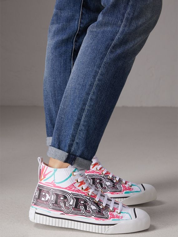 Doodle Print Coated Cotton High-top Sneakers in Optic White - Women | Burberry - cell image 2