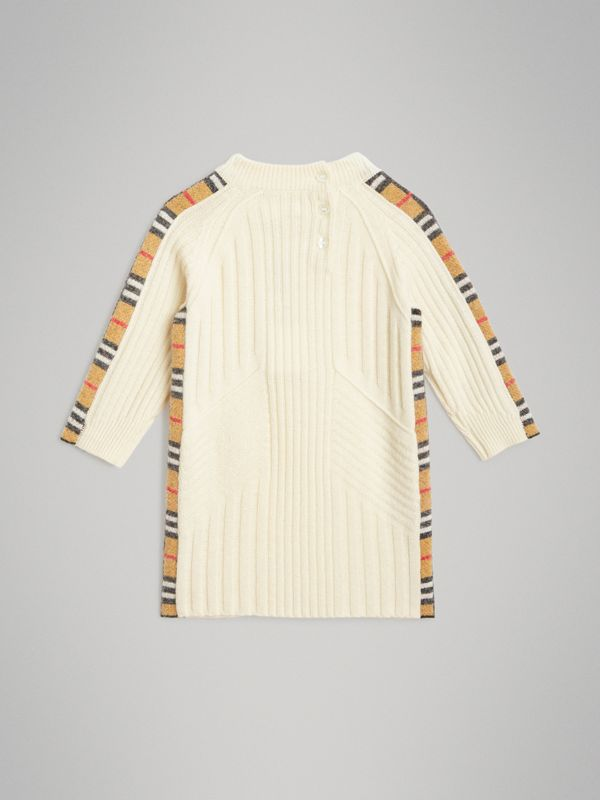Check Detail Wool Cashmere Dress in Ivory - Children | Burberry United Kingdom - cell image 3
