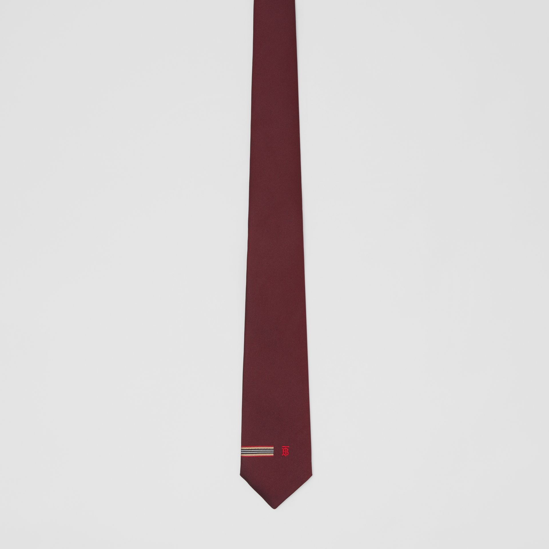 Classic Cut Icon Stripe and Monogram Motif Silk Tie in Claret - Men | Burberry - gallery image 2