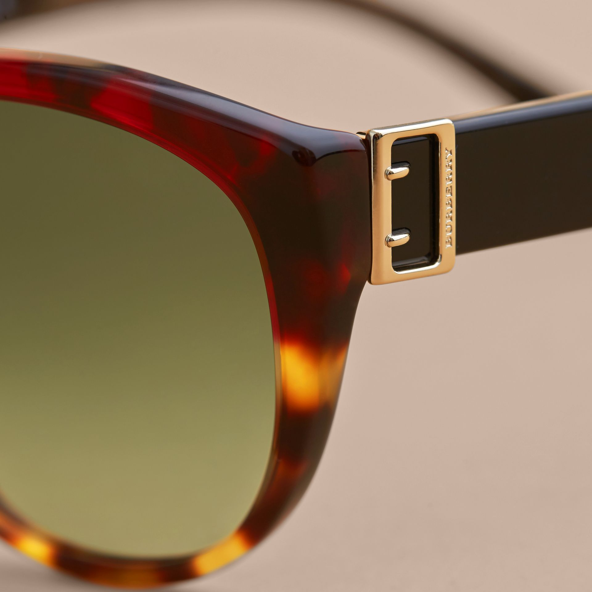 Buckle Detail Round Frame Sunglasses in Amber Yellow - Women | Burberry - gallery image 2