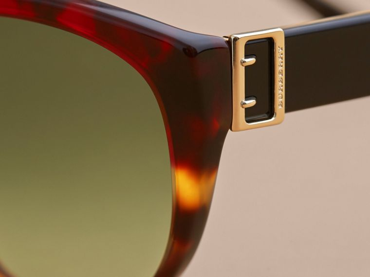 Buckle Detail Round Frame Sunglasses in Amber Yellow - Women | Burberry - cell image 1