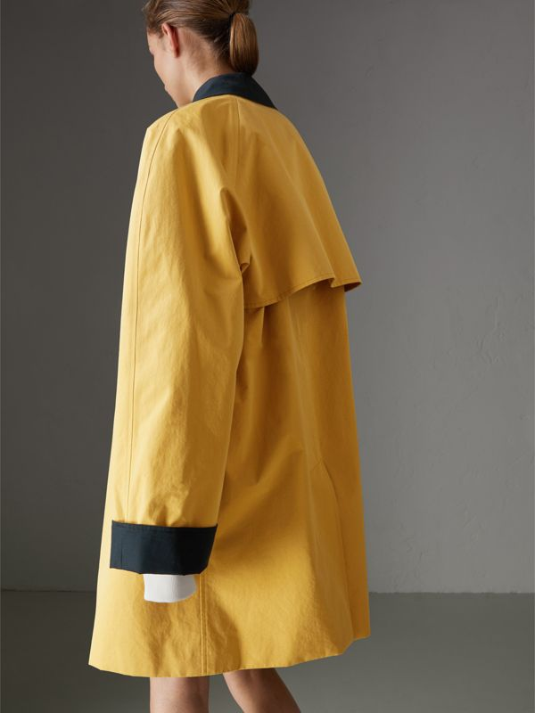 Reissued Waxed Cotton Gabardine Car Coat in Yellow - Women | Burberry United Kingdom - cell image 2