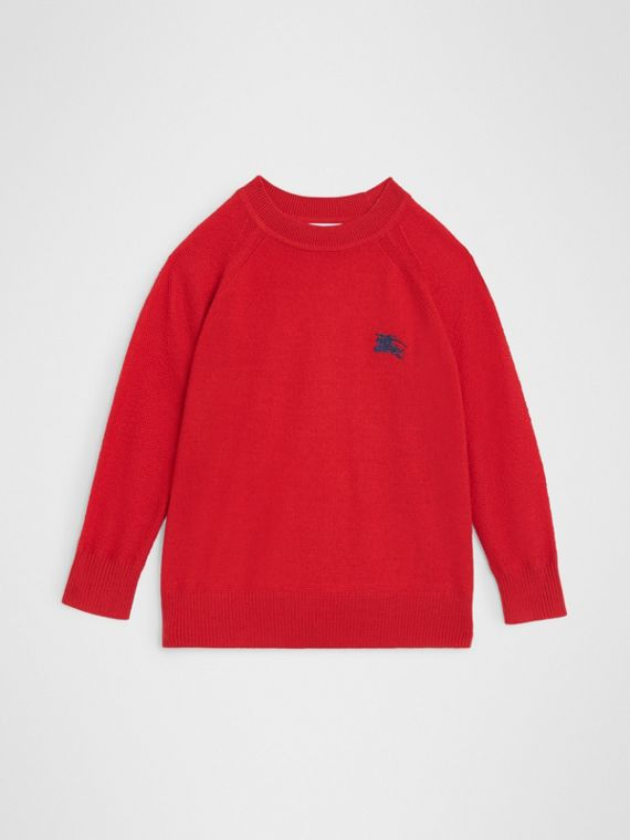 Crew Neck Cashmere Sweater in Burgundy Red