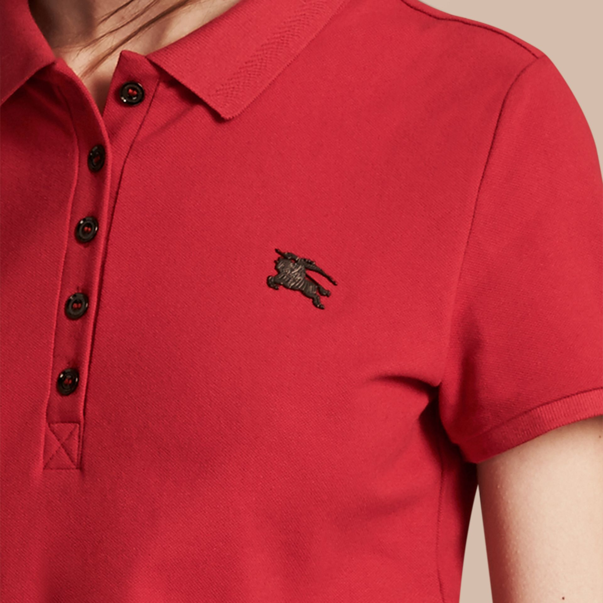 Cotton Piqué Polo Shirt Military Red - gallery image 2