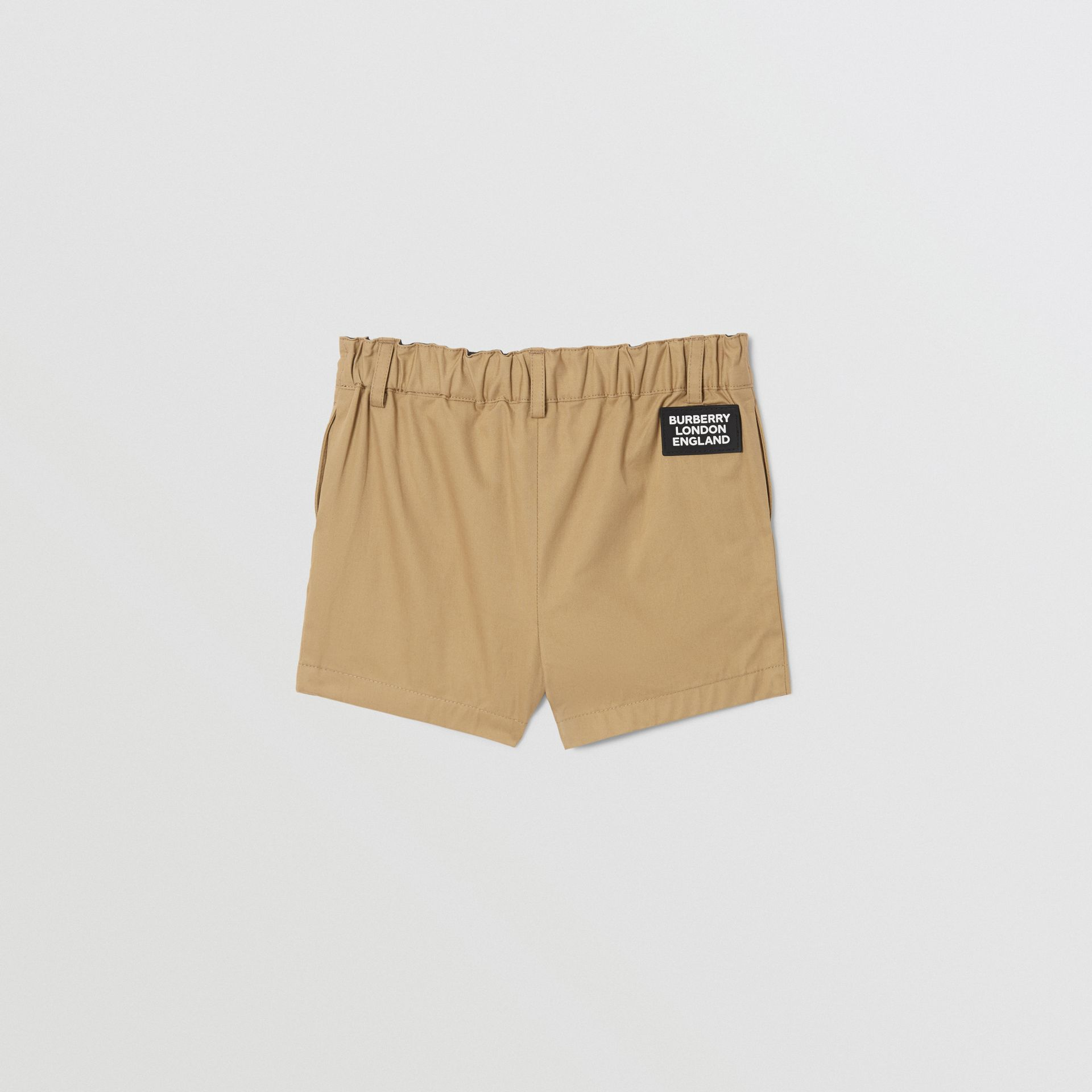 Logo Appliqué Cotton Twill Tailored Shorts in Archive Beige - Children | Burberry United States - gallery image 3