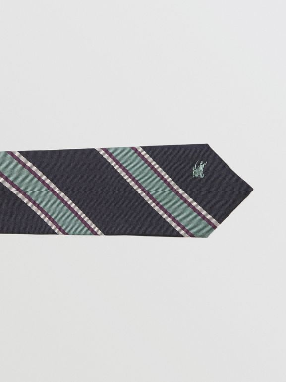 Modern Cut Striped Silk Jacquard Tie in Dark Indigo Blue - Men | Burberry - cell image 1