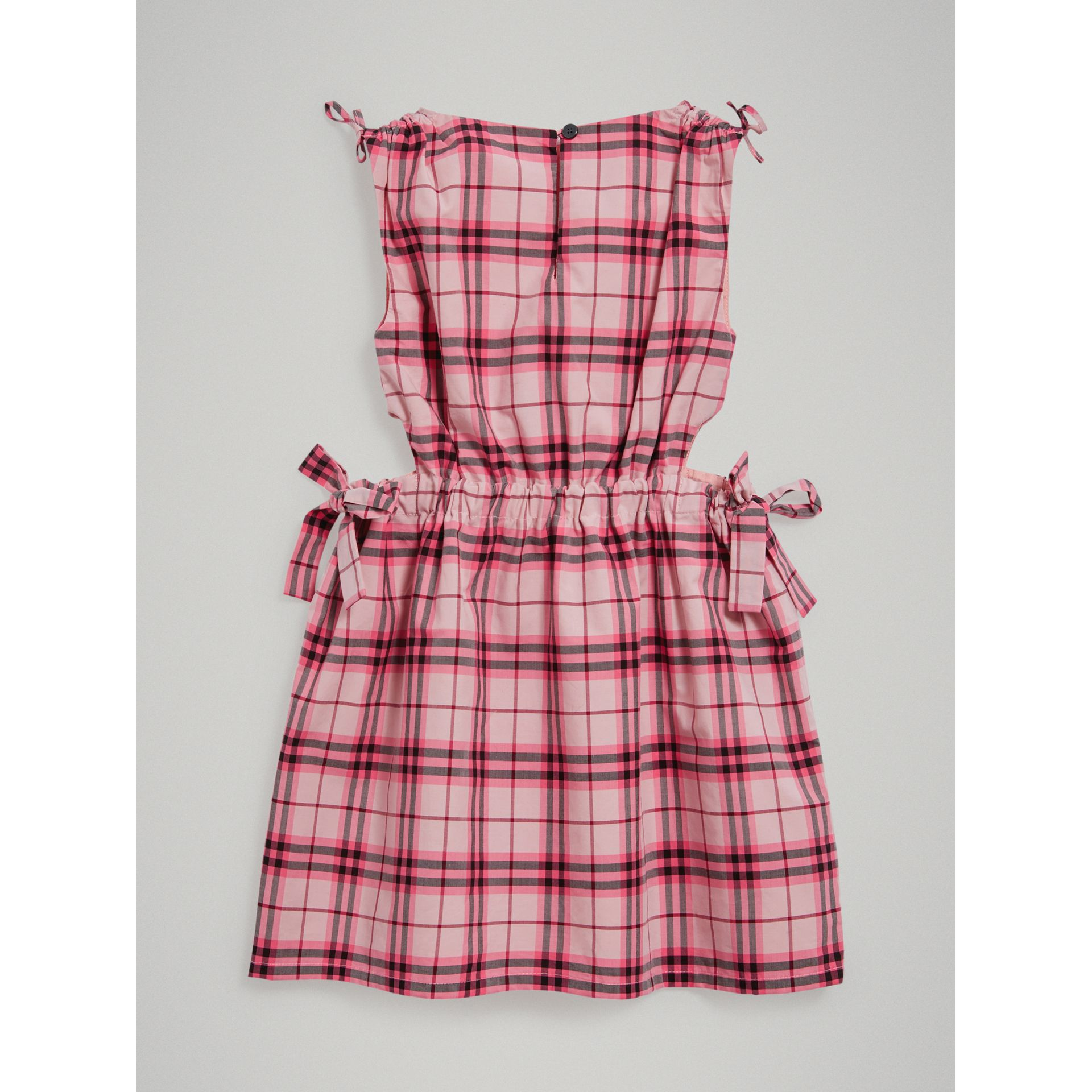 Tie Detail Check Cotton Dress in Bright Rose - Girl | Burberry United Kingdom - gallery image 3