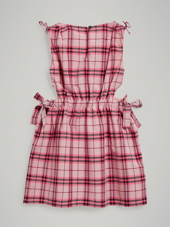 Tie Detail Check Cotton Dress in Bright Rose - Girl | Burberry United Kingdom - cell image 3