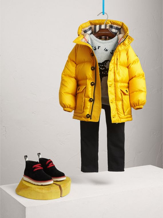 Shower-resistant Hooded Puffer Jacket in Larch Yellow