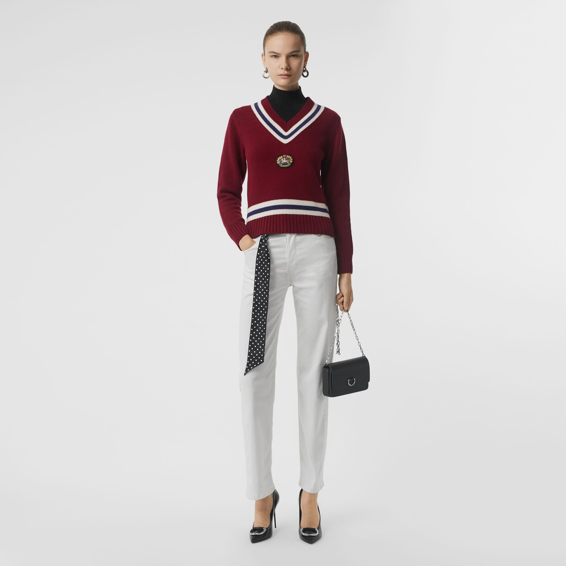 Embroidered Crest Wool Cashmere Sweater in Burgundy - Women | Burberry Australia - gallery image 0