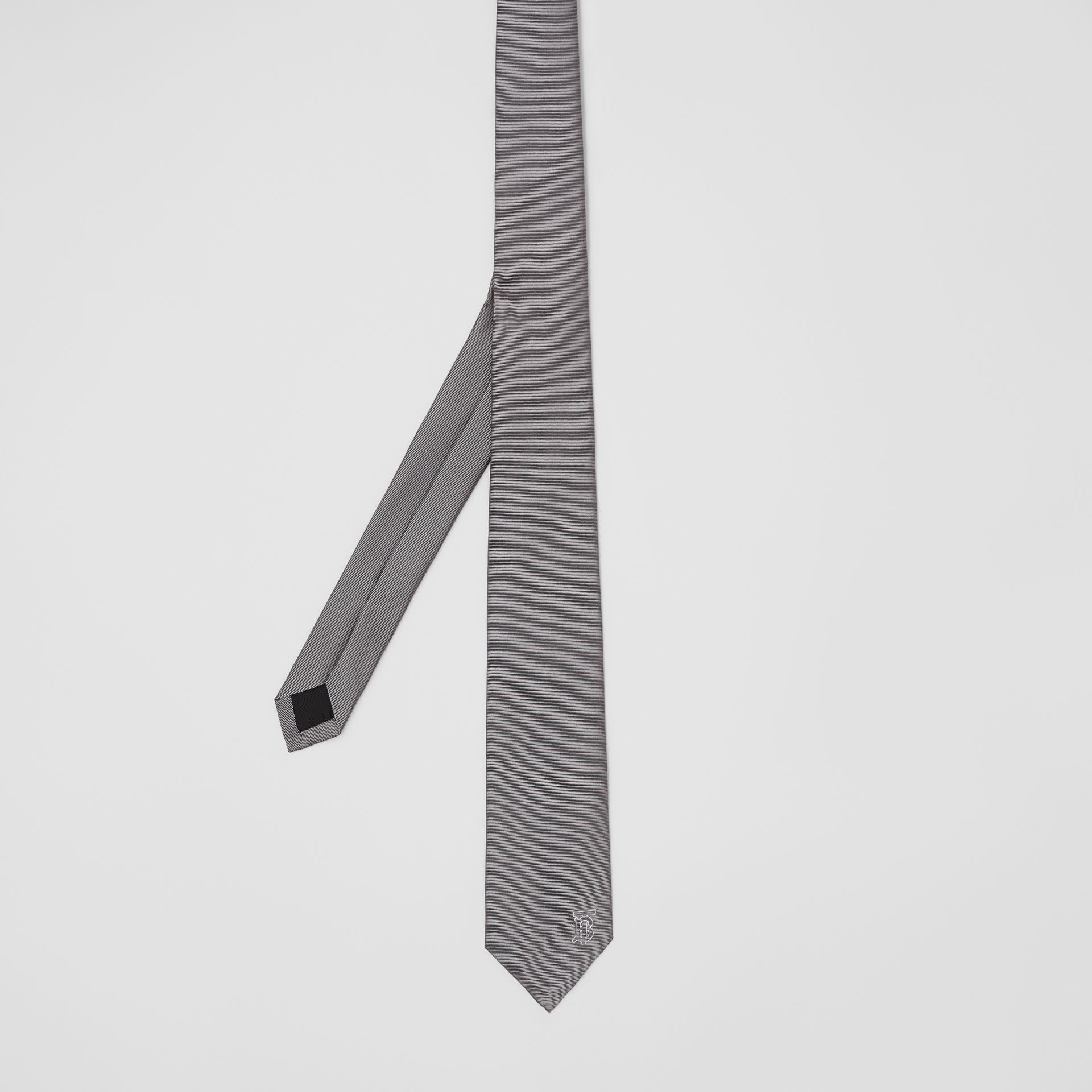 Classic Cut Monogram Motif Silk Tie in Mid Grey - Men | Burberry Canada - gallery image 3
