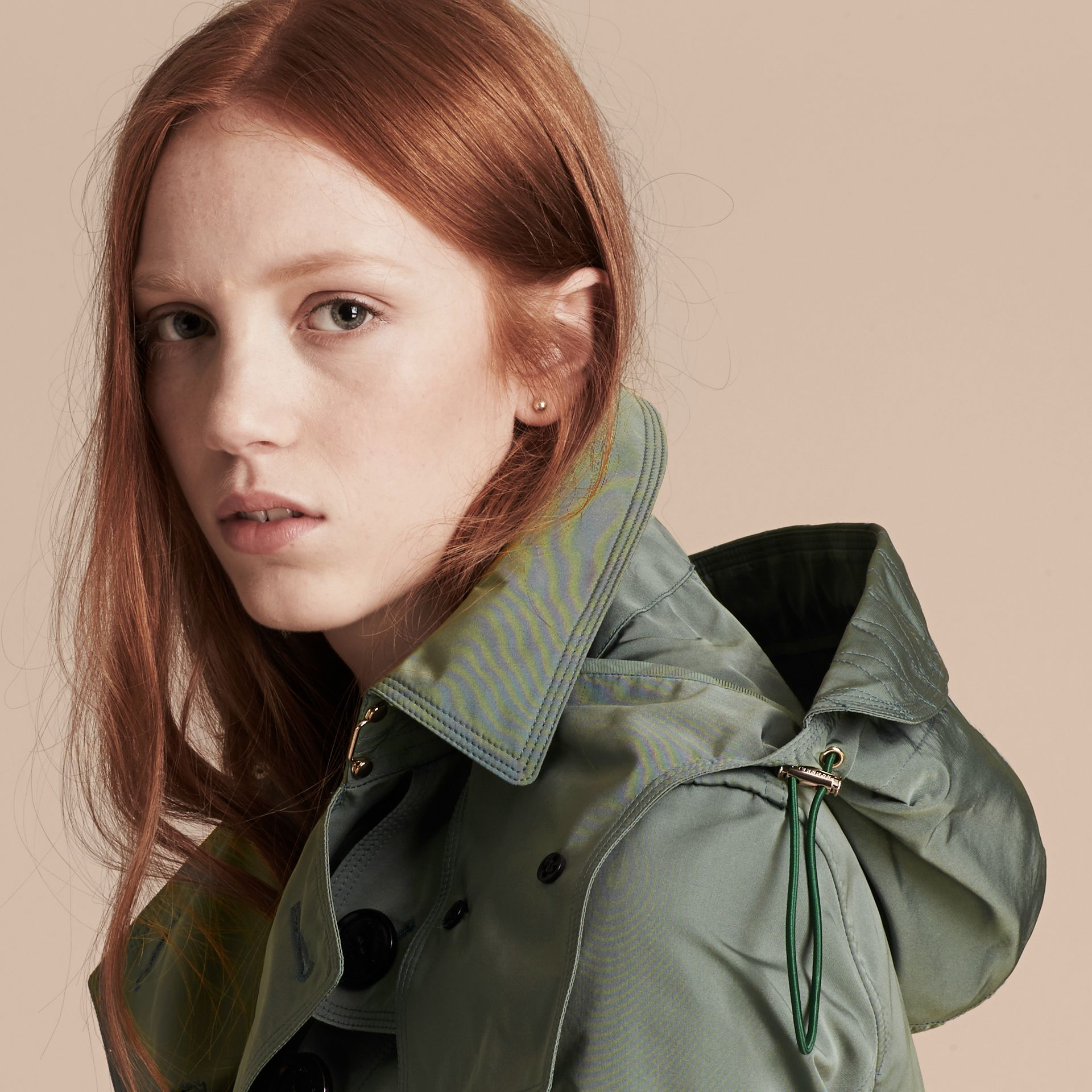 Eucalyptus green Showerproof Taffeta Trench Jacket with Detachable Hood Eucalyptus Green - gallery image 6