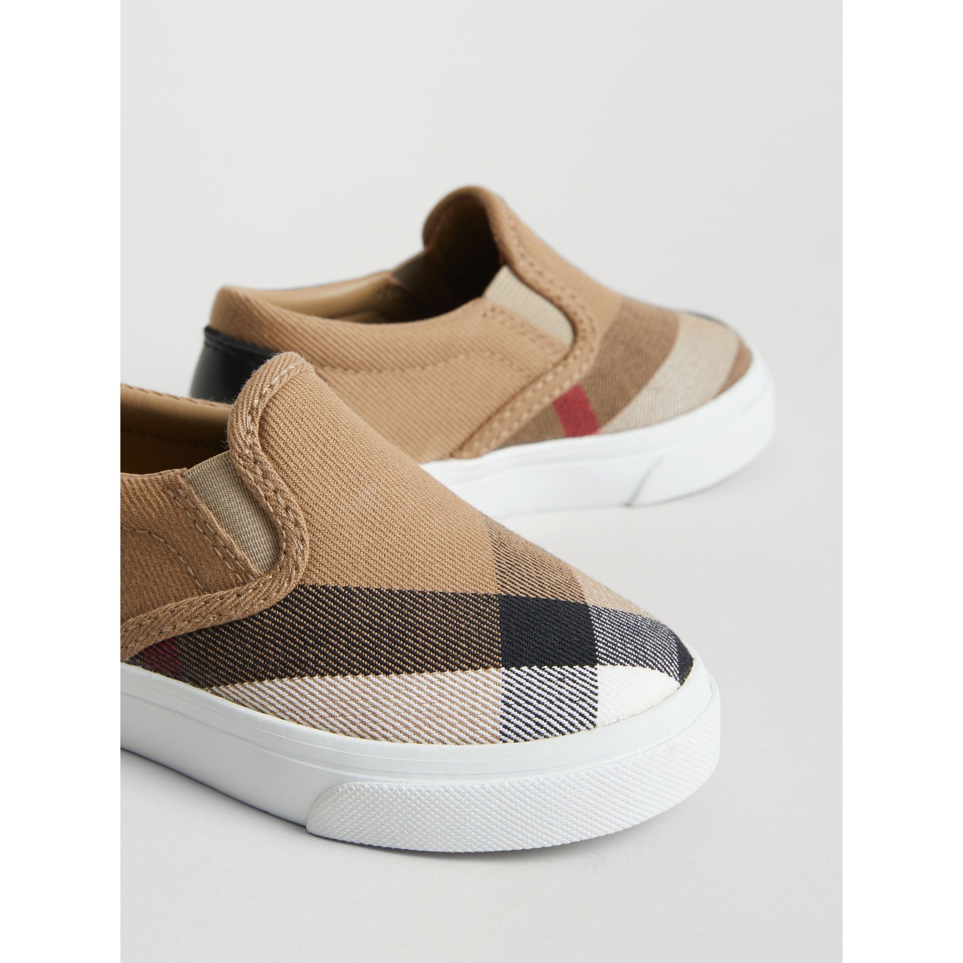 House Check and Leather Slip-on Sneakers in Classic/optic White | Burberry Australia - gallery image 1