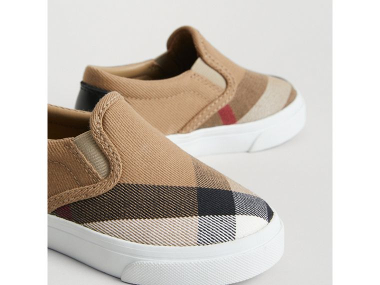House Check and Leather Slip-on Sneakers in Classic/optic White | Burberry Australia - cell image 1